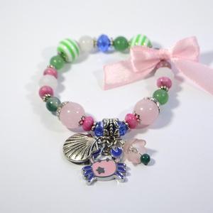 Cancer Mini karkötő kis Rákoknak achát, aventurin, holdkő, jade, rodokrozit, rózsakvarc ásványokból (YneroKoDesign) - Meska.hu