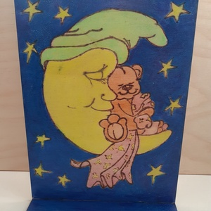 Sweet dreams -gyerekszoba dekoráció, Gyerek & játék, Gyerekszoba, Baba falikép, Otthon & lakás, Dekoráció, Kép, Festett tárgyak, Gravírozás, pirográfia, Talpas tábla 2oldalas Piográf + akvarell 15x20cm Sweet dreams, Meska