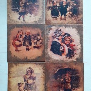 Poháralátét fából, Otthon & lakás, Konyhafelszerelés, Dekoráció, Ünnepi dekoráció, Decoupage, transzfer és szalvétatechnika, Karácsonyi vintage mintás fa poháralátét\n6 darabos \n8x8 cm, Meska