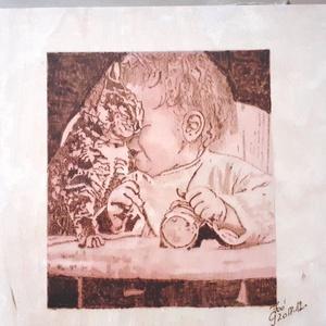 Barátok - cicás falikép, Gyerek & játék, Gyerekszoba, Otthon & lakás, Dekoráció, Kép, Fotó, grafika, rajz, illusztráció, Gravírozás, pirográfia, Kisgyermek cicával.\nKézi pirográf és akvarell technikával vegyesen készült falra akasztható táblakép..., Meska