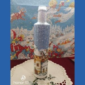 Karácsonyi díszüveg, Karácsony & Mikulás, Karácsonyi dekoráció, Decoupage, transzfer és szalvétatechnika, Festett tárgyak, Karácsonyra készült ez az újrahasznosított díszüveg, vegyes technikával.\nCsodás dísze lehet bármelyi..., Meska