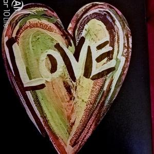 Fa szív mintás 15 x 12cm I., Otthon & Lakás, Papír írószer, Egyedi szerkesztés, Decoupage, transzfer és szalvétatechnika, Fotó, grafika, rajz, illusztráció, Lendületes színekkel díszített mintás faszív.\nFasználható ajándékkisérőnek,  kilincsre, vagy falidís..., Meska