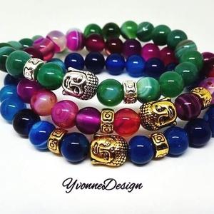 Gyönyörű színes buddha fejes achát karkötő (több színben elérhető) (YvonneDesign) - Meska.hu