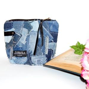 Patchwork női farmer kozmetikai táska, Neszesszer, Táska & Tok, Újrahasznosított alapanyagból készült termékek, Patchwork, foltvarrás, A neszesszerek elengedhetetlen részei a nők mindennapi életének. Ez a termék tökéletes lehet Neked, ..., Meska