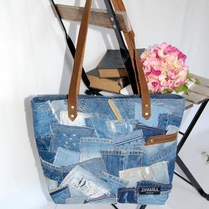Farmer patchwork női táska bőr füllel, Válltáska, Kézitáska & válltáska, Táska & Tok, Újrahasznosított alapanyagból készült termékek, Patchwork, foltvarrás, Ez a minőségi, újrahasznosított alapanyagokból készült táska remek társa lehet egy stílusos nőnek, e..., Meska