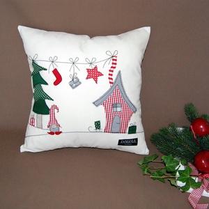 Karácsonyi párnahuzat manóval, Otthon & Lakás, Karácsony & Mikulás, Mikulás, Patchwork, foltvarrás, Ez az egyedi, kézzel készült párnahuzat tökéletes karácsonyi hangulatot teremt, kiváló dekoráció nap..., Meska