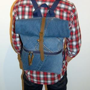 Farmer roll up hátizsák - AMAR, Hátizsák, Táska & Tok, Roll top hátizsák, Varrás, Farmer újrahasznosításával készült roll up hátizsák, amibe kényelmesen elfér minden holmi, amit maga..., Meska