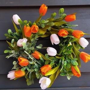 Tavaszi /nyári Ajtódísz kopogtató + asztaldísz szettben, Otthon & Lakás, Dekoráció, Ajtódísz & Kopogtató, Virágkötés, Selyem virág és vessző koszorú, 30cms a koszorú alap. , Meska