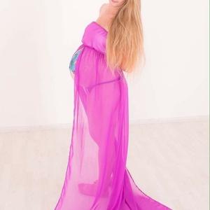 Lila elől nyitott muszlin kismama ruha (Zebubaby) - Meska.hu