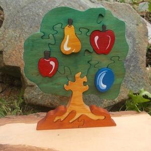 Gyümölcsfa puzzle, Játék & Gyerek, Társasjáték & Puzzle, Famegmunkálás, Festett tárgyak, Égerfából készült dekoráció. Szétszedhető! Mindkét oldala festett!\nGyerekjátékokra használt festékke..., Meska