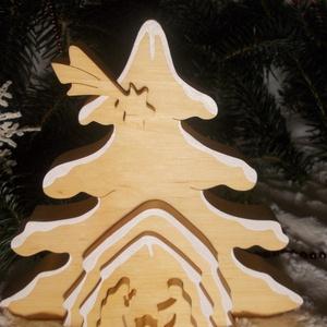 """3D Betlehem \""""havas\"""", Karácsony & Mikulás, Karácsonyi dekoráció, Famegmunkálás, Festett tárgyak, Tömör égerfából készült 3D-s karácsonyi dekoráció. Szétszedhető!\nGyerekjátékokra használt festékkel ..., Meska"""