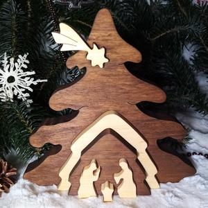 """3D Betlehem \""""pácolt\"""", Karácsony & Mikulás, Karácsonyi dekoráció, Famegmunkálás, Festett tárgyak, Tömör égerfából készült 3D-s karácsonyi dekoráció. Szétszedhető!\nVizes dió páccal pácolva, színtelen..., Meska"""