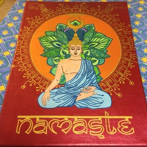 Meditáló Buddha, Otthon & lakás, Dekoráció, Kép, Lakberendezés, Falikép, Képzőművészet, Napi festmény, kép, Festészet, Fotó, grafika, rajz, illusztráció, Anyaga : 40 cm x 30 cm  feszített vászon\nAkrilfestékkel festve.\nKeretezést nem igényel (oldalai is f..., Meska