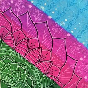 Mandala /sávos, Otthon & lakás, Képzőművészet, Festmény, Akril, Festmény vegyes technika, Festészet, Festett tárgyak, Mandala melkartonra (préselt lemezre kasírozott, alapazott festővászon)  akrillal fesve. \nKeret nélk..., Meska