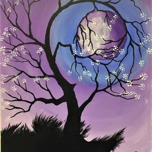 Teliholdas éjszaka, Otthon & lakás, Képzőművészet, Festmény, Akril, Dekoráció, Kép, Illusztráció, Festészet, Festett tárgyak, Ezt a képet melkartonra (préselt lemezre kasírozott, alapazott festővászon) akrillal festettem.  Ez ..., Meska