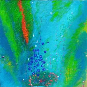 Vízivilág (absztark), Művészet, Festmény, Akril, Festészet, Festett tárgyak, Meska