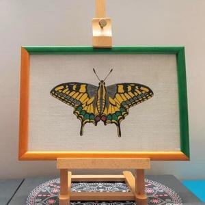 Pillangó 2, Kép & Falikép, Dekoráció, Otthon & Lakás, Festészet, Lenvászonra festett pillangó. Fakeretes, üveglapos, akasztóval ellátva. A keret direkt 2 féle színű ..., Meska