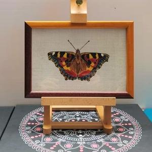 Pillangó 4, Akril, Festmény, Művészet, Festészet, Lenvászonra festett pillangó. Fakeretes, üveglapos, fémakasztóval ellátott. A keret direkt 2 féle sz..., Meska