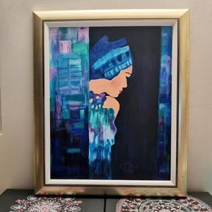 Női alak kék ruhában , Otthon & lakás, Lakberendezés, Falikép, Festészet, Női alakot ábrázoló kép. Mérete: 50 cm x 60 cm ebből a keret szélessége 6 cm. A keret  antikolt aran..., Meska