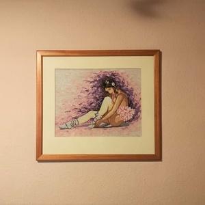 Balerina goblein, Gobelin, Textil, Művészet, Hímzés, Balerina Gobilen gyönyörű fakeretben, eleje üveglapos (egykicsit látszik is a feltett fotón a tükröz..., Meska
