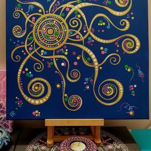 Égi kapcsolódás-Védelem, Otthon & lakás, Dekoráció, Kép, Képzőművészet, Festmény, Akril, Lakberendezés, Falikép, Festészet, 40 cm x 40 cm feszített vászon, akrillal festve. Imádtam ezt a képet festeni! :D Amint elkészült  fe..., Meska