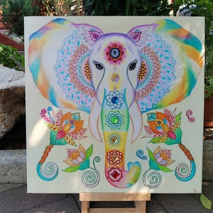 Erő és bölcsesség , Otthon & lakás, Lakberendezés, Falikép, Képzőművészet, Napi festmény, kép, Festmény, Akril, Festészet, Festett tárgyak, Az elefántnak mint szimbólumnak számtalan jelentése van. Legjellemzőbb, hogy a siker, az erő, a bölc..., Meska