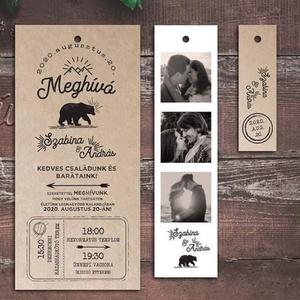 Rusztikus esküvői meghívó (macis), Esküvő, Meghívó, ültetőkártya, köszönőajándék, Fotó, grafika, rajz, illusztráció, Újrahasznosított alapanyagból készült termékek, Ha távol áll Tőletek a virágos-csillogós meghívó, és szeretnétek valami különlegesebb, egyszerű stíl..., Meska