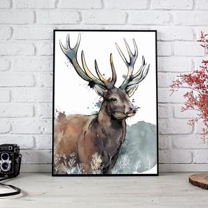 Az erdő Őre (szarvas festmény), Otthon & lakás, Képzőművészet, Festmény, Akvarell, Grafika, Illusztráció, Fotó, grafika, rajz, illusztráció, Az erdő Őre (szarvas festmény), glossy, 200 grammos, fényes bevonatú fotópapírra nyomtatva.\nA képen ..., Meska