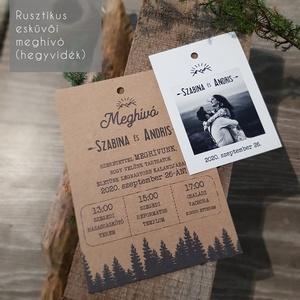 Rusztikus esküvői meghívó (A/6), (hegyvidéki és-vagy szarvas elemekkel), Esküvő, Meghívó, ültetőkártya, köszönőajándék, Esküvői dekoráció, Fotó, grafika, rajz, illusztráció, Ha közel áll hozzátok a rusztikus stílus, azt hiszem az alábbi meghívók jó választások lehetnek a Na..., Meska