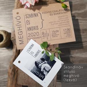 Letisztult, skandináv stílusú esküvői mehívó, Esküvő, Esküvői dekoráció, Meghívó, ültetőkártya, köszönőajándék, Fotó, grafika, rajz, illusztráció, Ha közel áll hozzátok a rusztikus stílus, azt hiszem az alábbi meghívók jó választások lehetnek a Na..., Meska