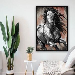 """Rustic Black Horse, Otthon & lakás, Dekoráció, Képzőművészet, Kép, Festmény, Festmény vegyes technika, Fotó, grafika, rajz, illusztráció, Digitális technikával készült lovas festményem, amit saját magam készítettem.\nNem \""""netről\"""" vásárolt ..., Meska"""
