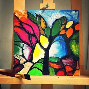 """Kerekerdő, Otthon & lakás, Dekoráció, Kép, Képzőművészet, Festmény, Olajfestmény, Festészet, Festett tárgyak, A Kerekerdő festményem színt visz a mindennapjaidba,\nÜde kis színfoltja lesz a lakásodnak, ha \""""őt\"""" v..., Meska"""