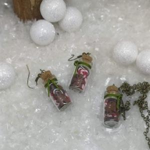 """Sütis üveg fülbevaló és nyaklánc, Ékszer, Fülbevaló, Nyaklánc, Ékszerkészítés, Gyurma, Nagyon cuki karácsonyi szett, az üvegek tele töltve karácsonyi \""""finomságokkal\"""" :).\n\nA \""""sütik\"""" süthet..., Meska"""