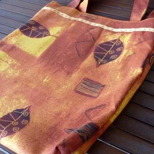 Narancs-barna-sárga levélmintás bevásárló táska/szatyor (ZoeCollection) - Meska.hu