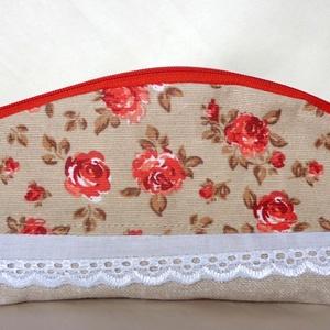 Piros-drapp-barna rózsás neszesszer/ceruzatartó (madeira csipkével) (ZoeCollection) - Meska.hu
