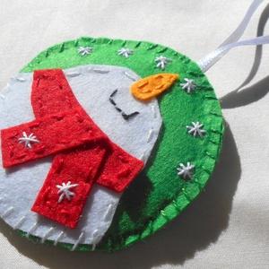 Kör alakú vidám hóemberes karácsonyfadísz - karácsony - karácsonyi lakásdekoráció - karácsonyfadíszek - Meska.hu