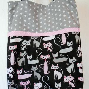 Kívül belül hordható fekete-rózsaszín cicás bevásárló táska/szatyor  (ZoeCollection) - Meska.hu