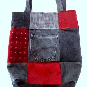 Patchwork:  farmer-bársony-kárpit újrahasznosított táska/szatyor (külső zsebes), Táska, Táska, Divat & Szépség, Szatyor, Varrás, Bevásárláshoz vagy csak úgy a hétköznapokra ajánlom, ezt az újrahasznosított anyagokból patchwork te..., Meska