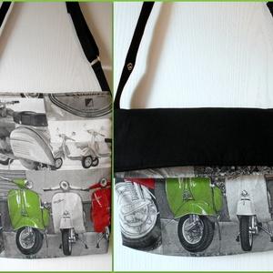 Sportos robogó/montor mintás-fekete keresztben hordható táska , Vállon átvethető táska, Kézitáska & válltáska, Táska & Tok, Varrás, Egyenes vonalú keresztben hordható válltáska a motorozás szerelmeseinek. A táskamerevítős vatelinnel..., Meska