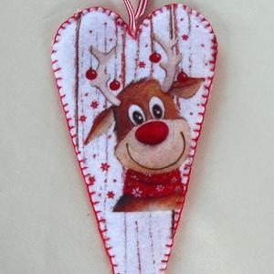 Fehér faerezetes - Rudolfos szív alakú dísz , Otthon & Lakás, Karácsony & Mikulás, Karácsonyfadísz, Varrás, Hamarosan itt a karácsony! Ajándékozáshoz díszítéshez ajánlom ezt a fehér faerezetes  alapon Rudolf ..., Meska