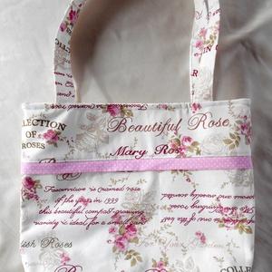 Romantikus rózsás válltáska, Táska, Táska, Divat & Szépség, Válltáska, oldaltáska, Varrás, Amennyiben szereted a romantikus kiegészítőket, akkor neked ajánlom ezt a tört fehér alapon rózsaszí..., Meska