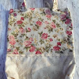 Vintage sítlusú romantikus rózsás bevásárló táska/szatyor pamutcsipkével , Táska & Tok, Bevásárlás & Shopper táska, Shopper, textiltáska, szatyor, Varrás, Ha környezettudatos vagy és kedveled a vintage stílusú darabokat, akkor neked ajánlom ezt a romantik..., Meska