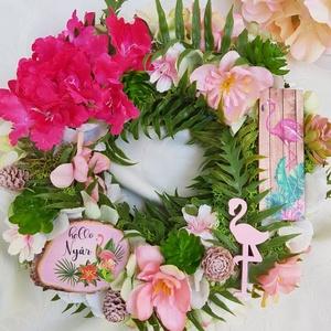 Trópusi hangulat, Otthon & lakás, Dekoráció, Dísz, Lakberendezés, Ajtódísz, kopogtató, Virágkötés, Egy olyan ajtódíszt álmodtam meg, ami elhozza az igazi trópusi hangulatot színes virágokkal, flaming..., Meska