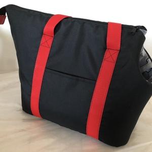 Kutyahordozó táska fekete - piros , Otthon & Lakás, Kisállatoknak, Kutyáknak, Varrás, Meska