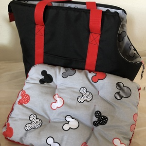 Kutyahordozó táska fekete - piros  - Meska.hu