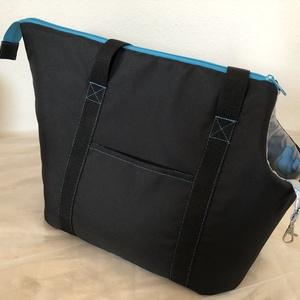 Kutyahordozó táska fekete - türkiz mintás béléssel, Otthon & Lakás, Kisállatoknak, Kutyáknak, Varrás, Meska
