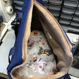 Kutyahordozó táska  kék-mogyoró béléssel, Otthon & Lakás, Kisállatoknak, Kutyáknak, Varrás, Meska