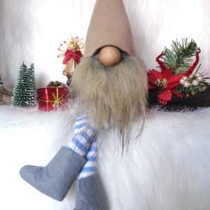 KARÁCSONYI manó, skandináv gnom kék-fehér csíkos lábbal, Karácsony & Mikulás, Karácsonyi dekoráció, Baba-és bábkészítés, Varrás, KARÁCSONYI MANÓ skandináv gnom csíkos lábbal\n egyedi,kézzel készített, saját termék\nkedves karácsony..., Meska