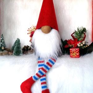 KARÁCSONYI manó, skandináv gnom  csíkos lábbal piros sapkával, Karácsony & Mikulás, Karácsonyi dekoráció, Baba-és bábkészítés, Varrás, KARÁCSONYI MANÓ dekoráció skandináv gnom csíkos lábbal piros sapkával\n egyedi,kézzel készített, sajá..., Meska