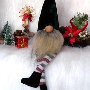 KARÁCSONYI manó, skandináv gnom  csíkos lábbal zöld sapkával, Karácsony & Mikulás, Karácsonyi dekoráció, Baba-és bábkészítés, Varrás, KARÁCSONYI MANÓ skandináv gnom csíkos lábbal zöld sapkával\n egyedi,kézzel készített, saját termék\nke..., Meska